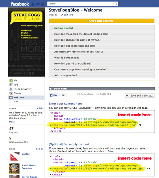 facebook landing page code