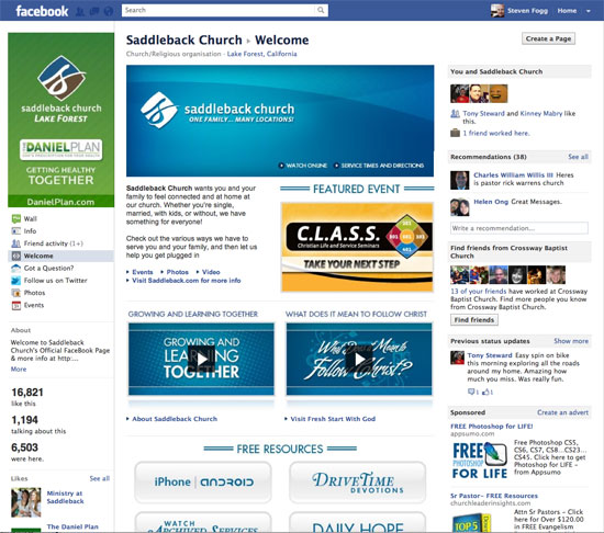 Saddleback Facebook Page