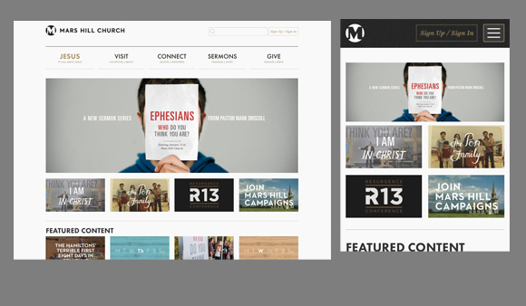 marshill church website, responsive design