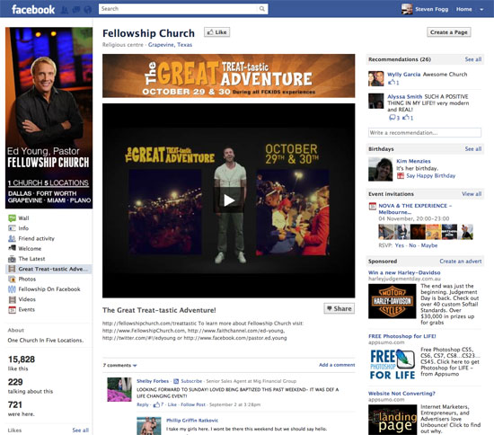 Fellowship church Facebook page