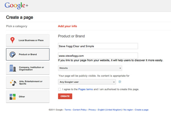 Create a google+ page step 2