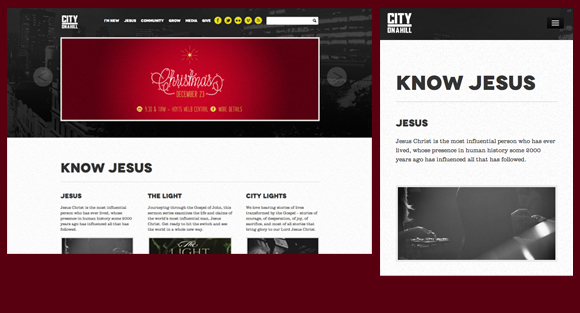 City On A Hill Church Website Responsive Design