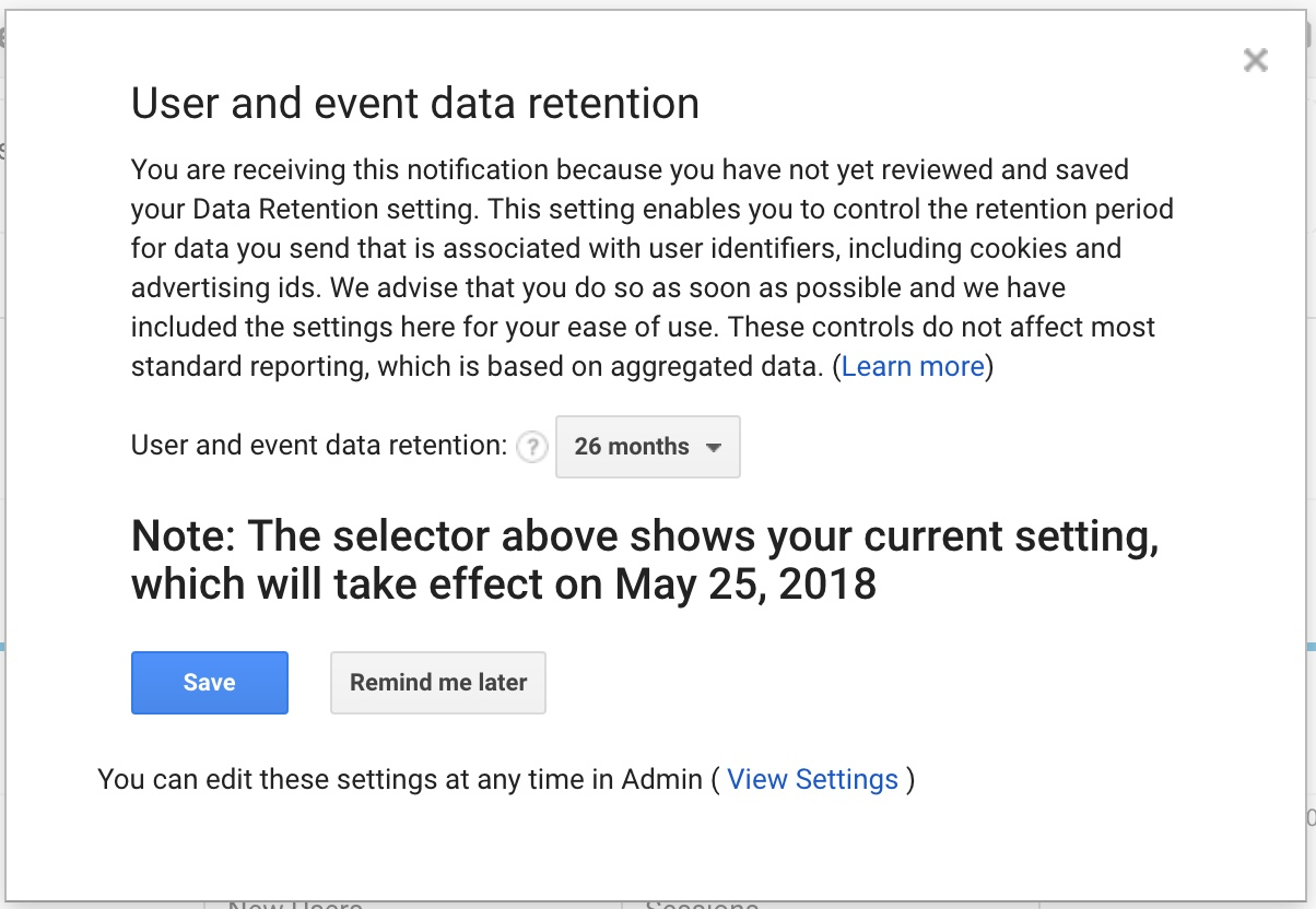 Google Analytics GDPR churches